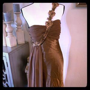 J. Crew Brown Evening Gown One Shoulder